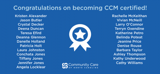 CCNC care managers receive CCM certification